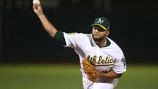 Yusmeiro Petit of the Oakland Athletics gave up a home run to Tampa Bay's Tommy Pham in a short lived outing during the AL Wild Card Game.